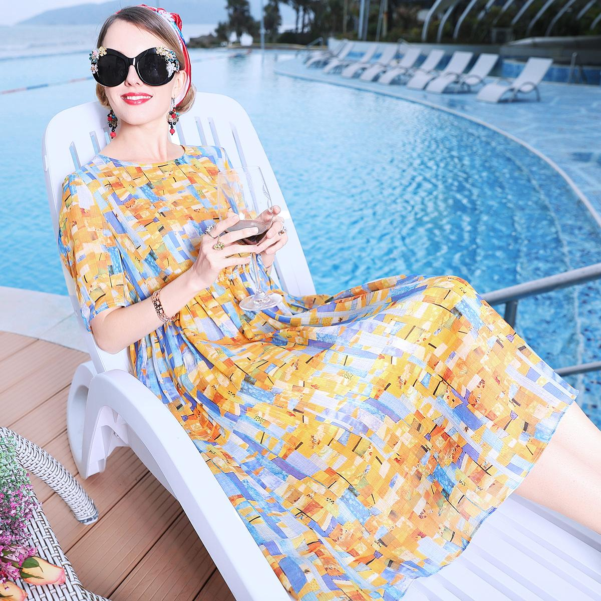 Blue Sky Kelebek Çiçek Elbise İlkbahar ve Yaz 9022 2019 Yeni Gevşek İnce Doll Rami Mediumlength Etek