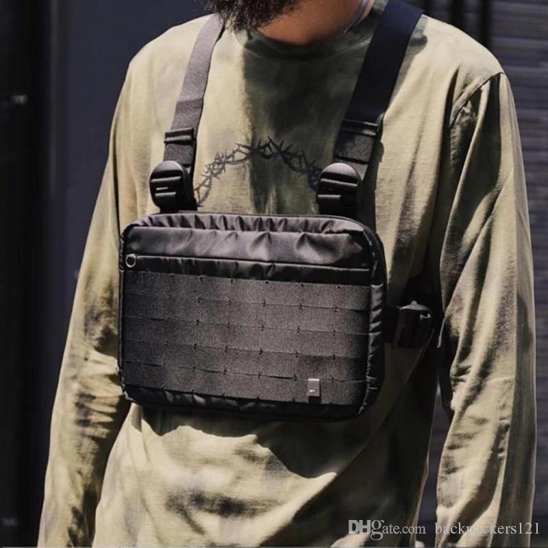 Hombres Mujeres Bolsa de pecho plataforma hip hop streetwear funcional bolsa de pecho hombro cruzado Bolsas tácticas ajustables Bolsas Kanye Wai