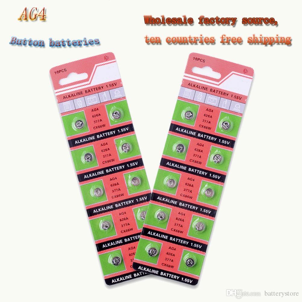 750 PCS fábrica Fonte Hot Atacado AG4 377 Botão Bateria LR626 626 1.55V SR626SW CX66 Relógio Botão bateria para Watch Toy Coin Battery