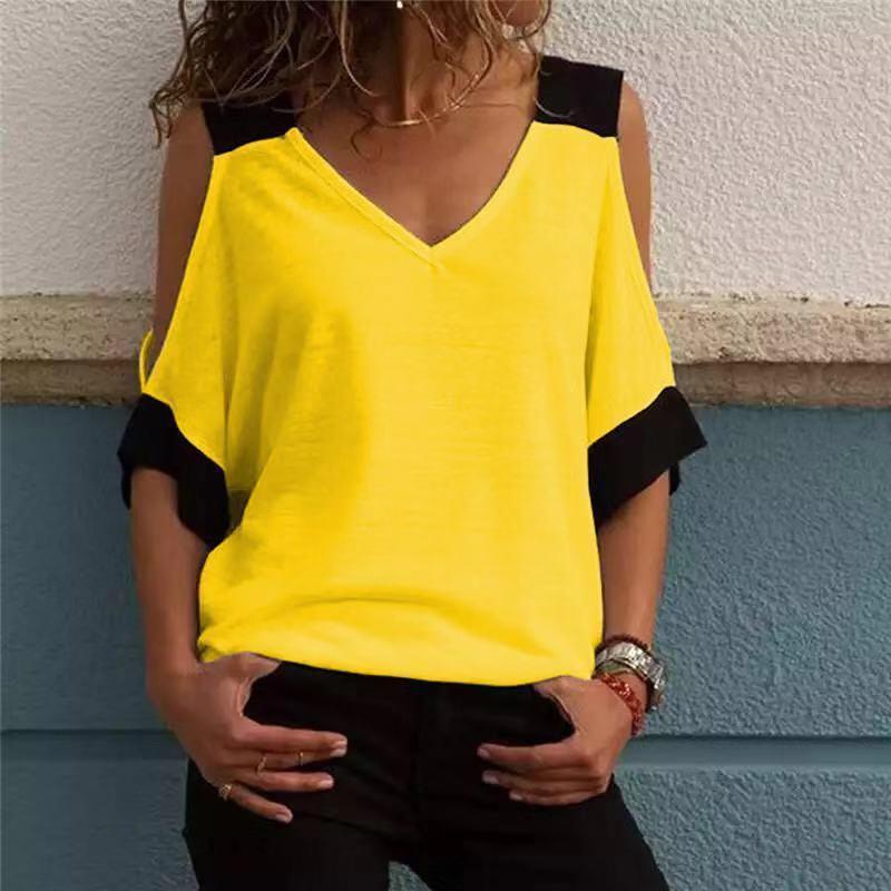 2019 mujeres remiendo del verano camiseta de hombro frío camisetas de poliéster camiseta mujeres con cuello en v camisetas superiores Feminina Camiseta Blusas