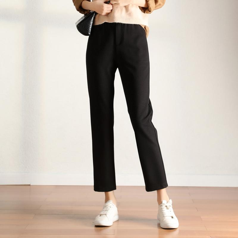 Leiji los pantalones vaqueros mujeres del resorte pantalones negros sueltos mujeres recta pantalones delgada larga duración pantalón más el tamaño de cintura alta pantalones harén