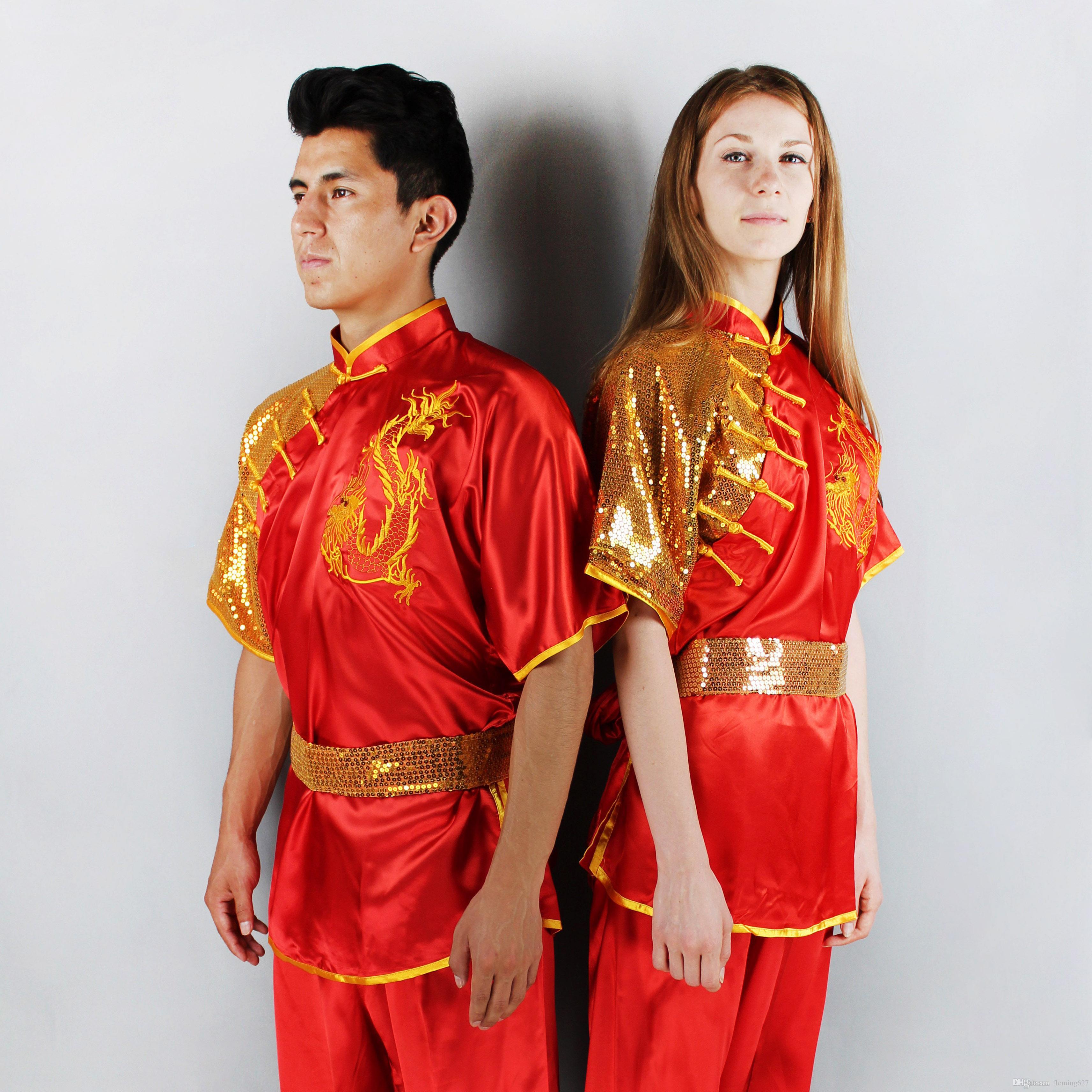Wushu Mücadele gösterisi Elbise yarışması Kungfu sequins işlemeli ejderha high-end Nanquan Giyim uzun yumruk streç ipek Suits