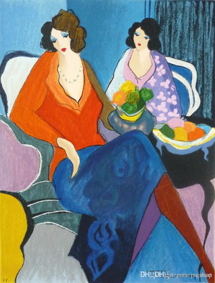 Itzchak Tarkay Figuration Accueil Oeuvres Senhora moderne Portrait peinture à l'huile sur toile et Convex Texture Concave IT068