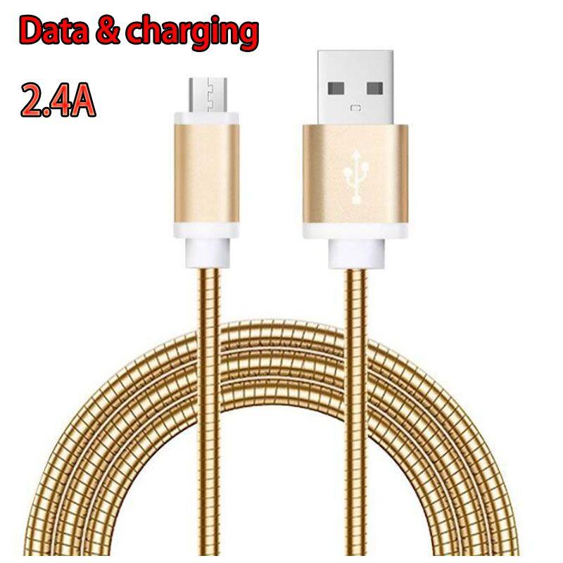 2.4A 빠른 충전 USB 케이블 1m 3ft 금속 봄 휴대 전화 데이터 SNYC 충전 케이블 삼성 S10 메모 10 Huawei P20 Pro