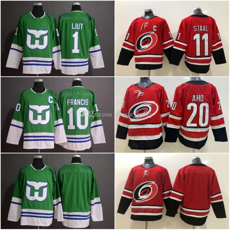timeless design 7c19d 852ca 2019 20 Sebastian Aho Carolina Hurricanes Jersey Hartford Whalers 1 Mike  Liut 10 Ron Francis 11 Staal Whalers Night Hockey Jerseys Men Youth Kids  From ...