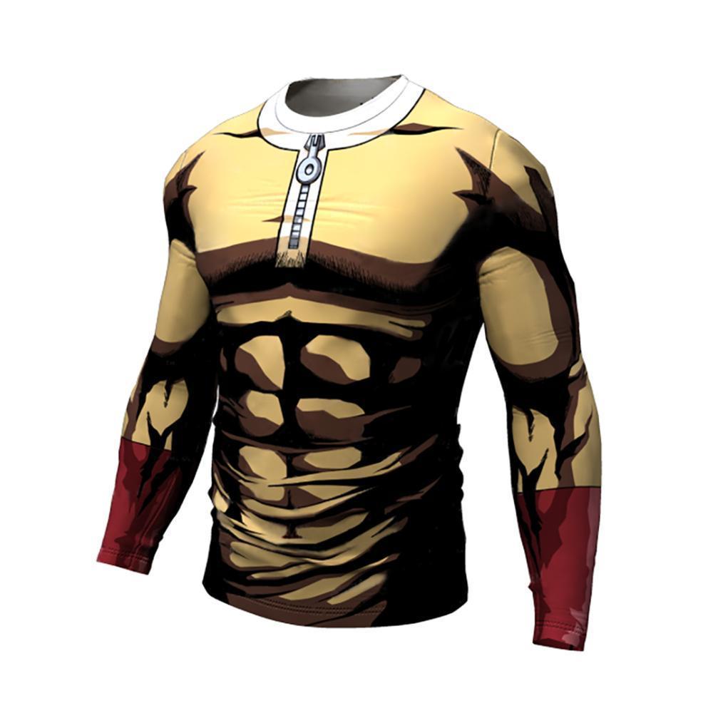 Bir Punch Man Running tişörtleri erkekler uzun kollu giysiler erkek Y200623 vücut geliştirici Sıkı gömlek Spor spor eğitim gömlekler Compression