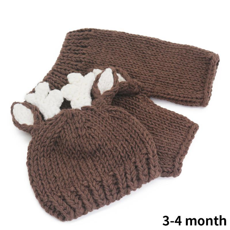 Photography Prop Newborn Knitted Clothing Hat Pants Baby Shower Gift Cute Baby Costume Set Outfits Christmas Deer Handmade