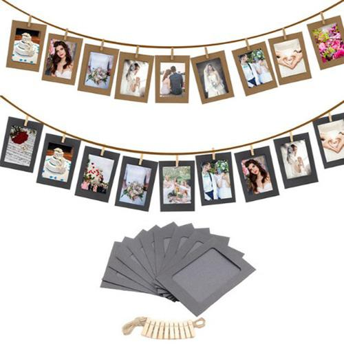 DIY Kraft Paper Photo Frame 6 inch Hanging Wall Photos Picture Frame Kraft Paper With Clips and Rope For Family Memory
