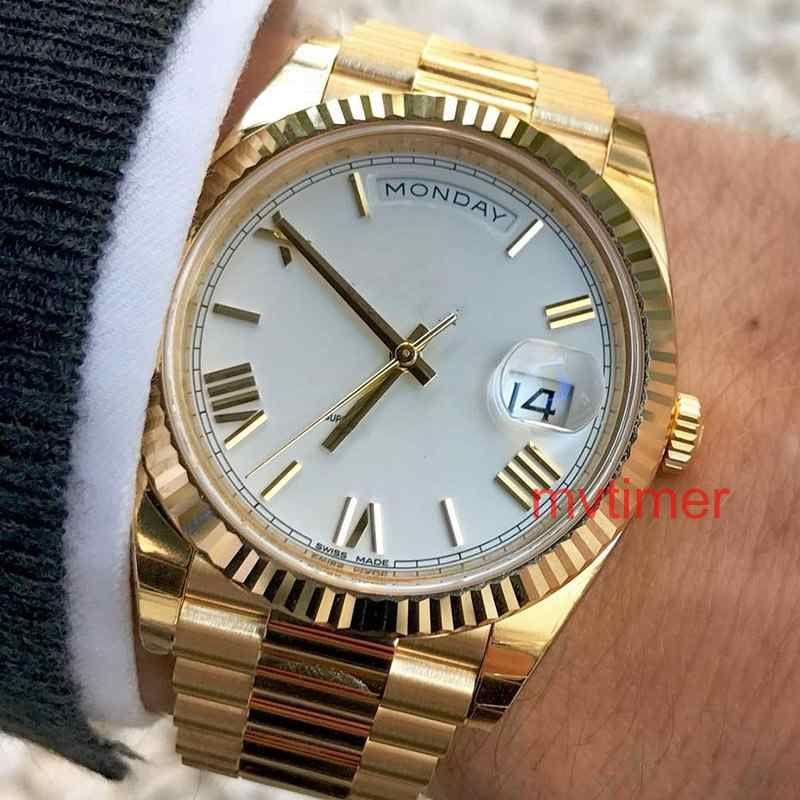 로즈 골드 남성 제네바 시계 그린 로마 다이얼 mens 럭셔리 자동식 데이 드레스 여성 패션 남성 Reloj 시계 WristWatches 228238