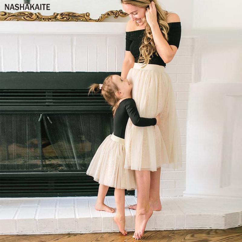 Мама и я одежда семья футболка топ + юбка мама и дочь платье мама и дочь соответствующие одежда семья соответствующие одежда Y190523