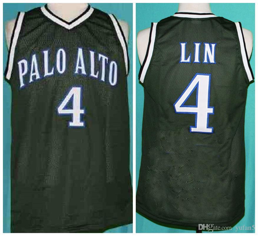 Jeremy Lin retro # 4 Palo Alto Baloncesto Vikings Jersey retro para hombre cosido Número Nombre jerseys