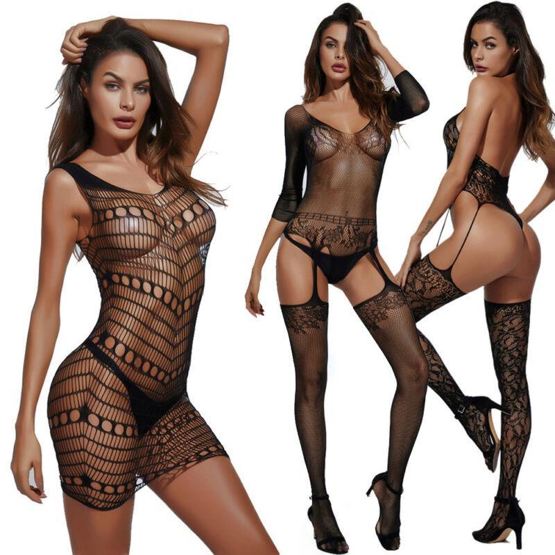 Femmes Sexy Lingerie nuisette Pyjamas Sous-vêtements en dentelle noire Ensemble robe meilleure (NO G-String)