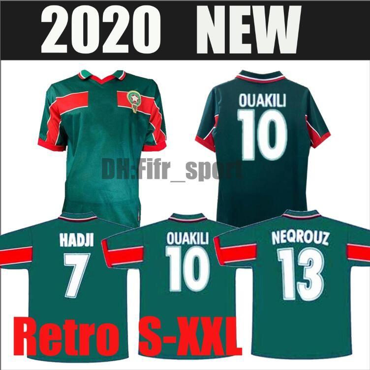 1998 Marrocos retro camisa de futebol de casa 98 99 Maroc Hadji Bassir OUAKILI NEQROUZ Abrami clássico do vintage tamanho da camisa de futebol velho S-XXL