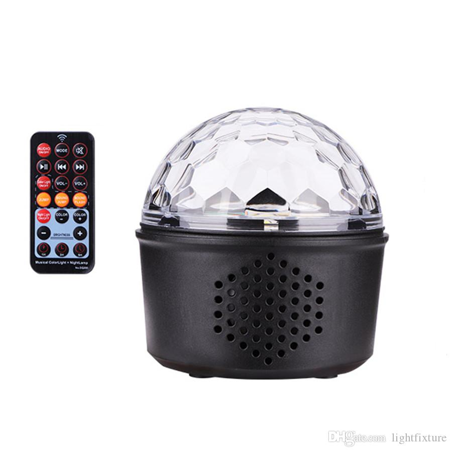 Mini Voice Activated USB Crystal Magic Ball LED Stage Disco Ball Projector Party Lights Rotary Flash DJ Lights for Home KTV Bar Car