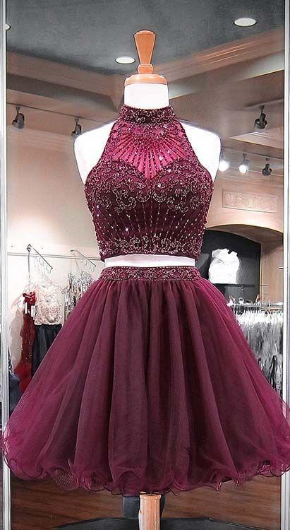 bordo 2 Adet Kısa Gelinlik Modelleri Yüksek Boyun Boncuk Kristal Boru Tül Mini Eve Dönüş Ucuz Elbise Kız Genç Parti Resmi elbise Yeni
