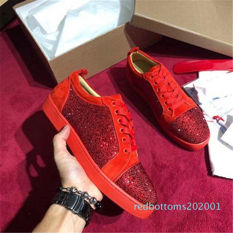 Designer Red Sneakers Bottom Spikes Low Cut Flats Chaussures pour homme femme en cuir sneakers occasionnels avec sac à poussière AR01