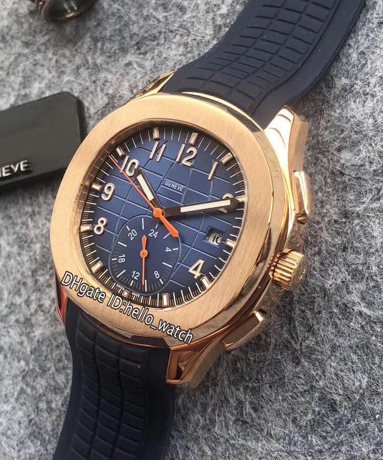 Nuovo sport Aquanaut 5968A-001 quadrante blu automatico orologio da uomo cassa in oro rosa cinturino in caucciù blu orologi da uomo di alta qualità orologi Hello_watch 10 colori