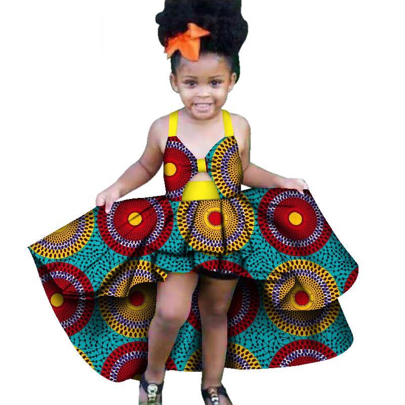 Moda África Roupas Infantis Dashiki Meninas Bonitos Vestidos Bazin Babados roupas tradicionais Africano crianças africanas vestidos WYT277