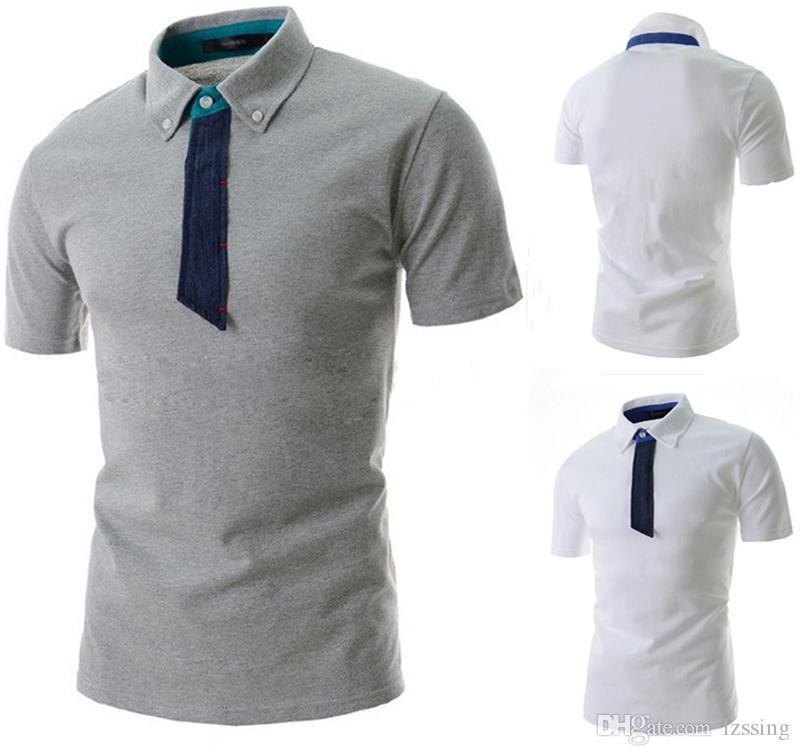 Лето с коротким рукавом серая рубашка поло Мужчины Homme Повседневная Тонкий Мужские рубашки поло Дышащие майки поло Para Homens 1413-DT04