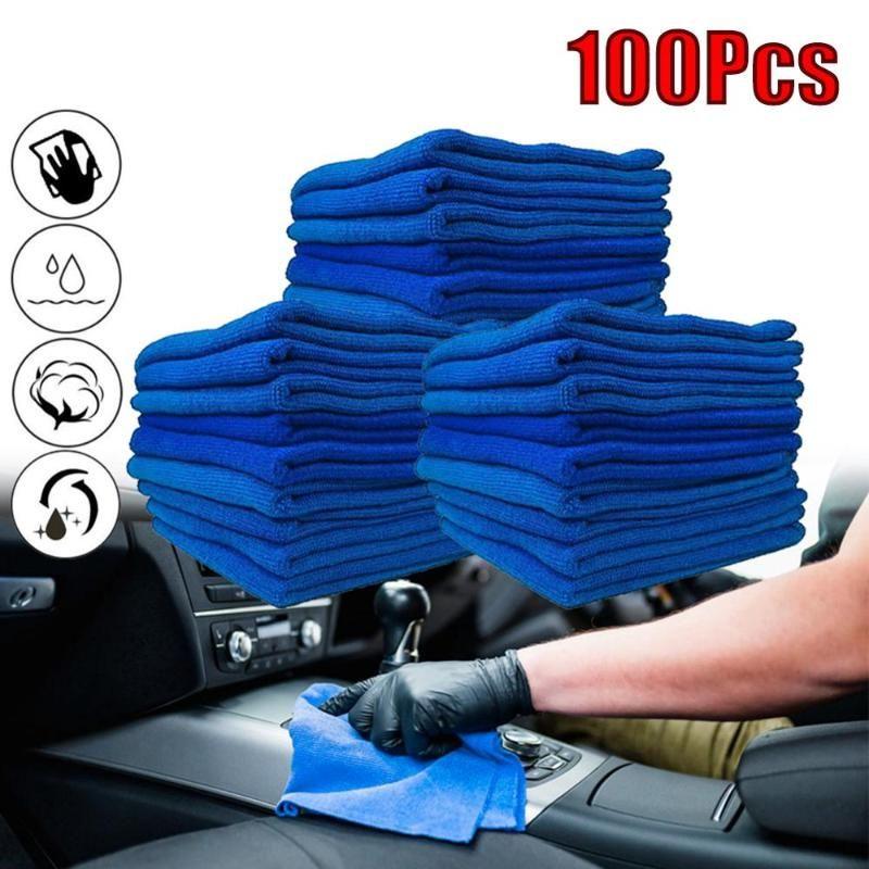 Paquet de 100 Microfiber bleu voiture Essuie-glaces chiffon de nettoyage de voiture serviettes anti-rayures chiffon de polissage Détailler serviette