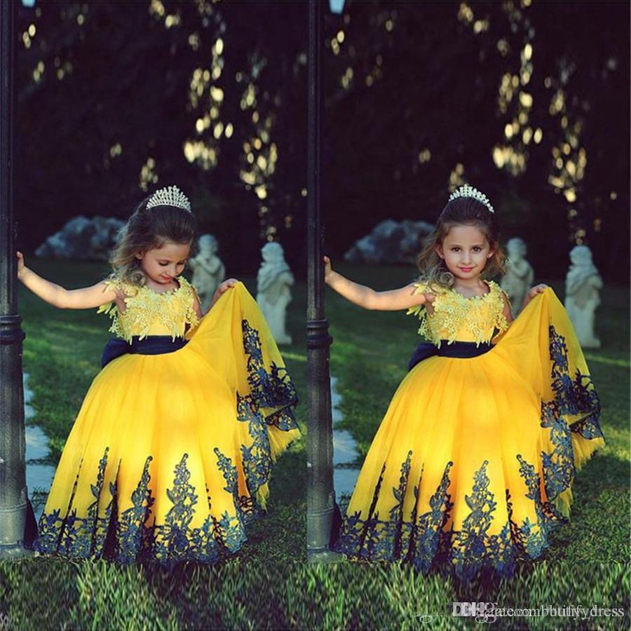 2019 vestidos de niña con apliques dos piedras amarillo y azul oscuro vestido de gala vestido de primera comunión para las muchachas de la princesa cumpleaños