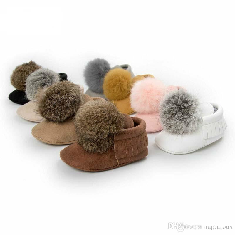 Netter Kugel-Kleinkind-Baby-Mädchen-erste Wanderer-Winter-warme Krippe Schuhe Anti-Rutsch-Soft-Mokassin Stiefel 0-18M