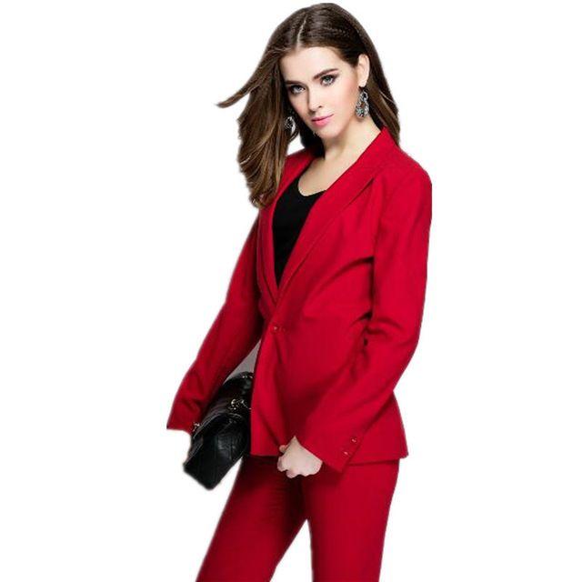 Rote Womens Anzüge Formelle Büro Uniform Abend Weibliche Arbeit Tragen 2 Stück Sets Blazer Damen Hosenanzug