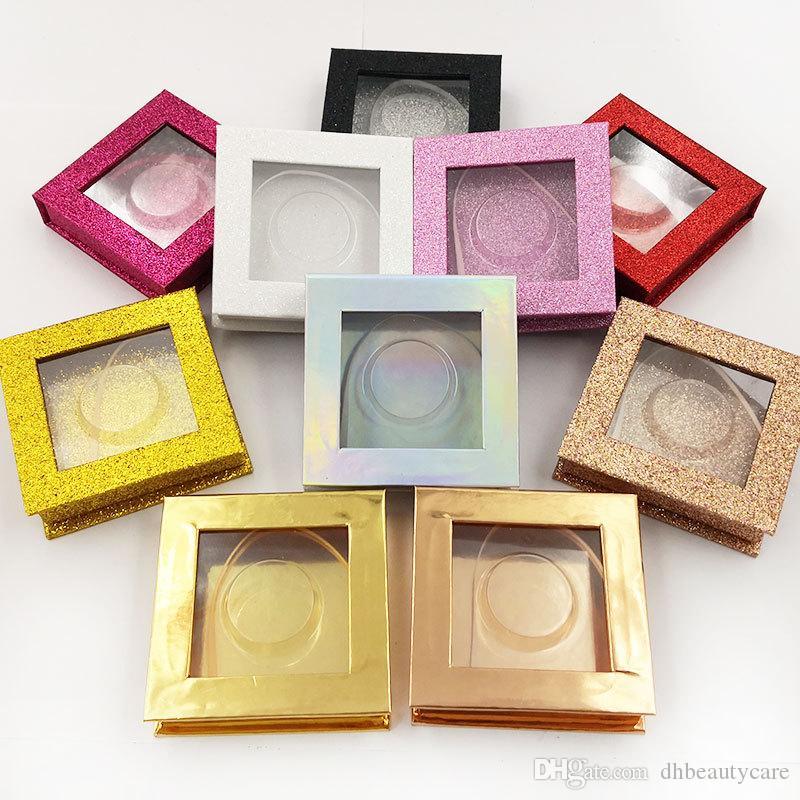 반짝이 속눈썹 포장 상자 사용자 정의 속눈썹 포장 상자 빈 거짓 속눈썹 케이스 저장 상자 화장품 도구 10 스타일 혼합 스타일