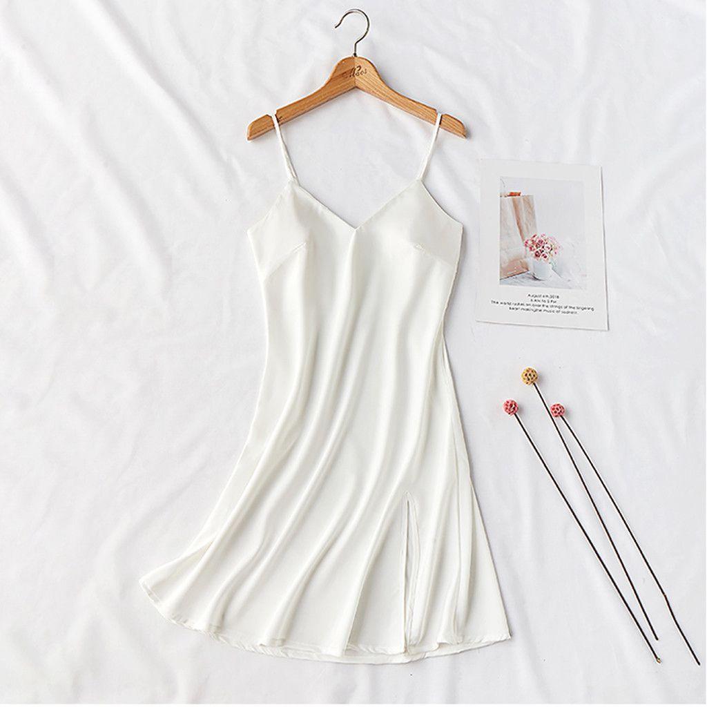 Wholesale-Deep V-neck Nightdress Sexy Lingerie Nightgowns Sleepwear Night Dress Women Sleeveless Nightwear Faux Adjusted-straps 8.23