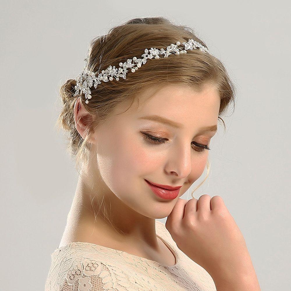 Headpiece nuptiale Bandeaux de mariage avec strass et ruban Simulé Perle fleur Bijoux Style cheveux Cadeaux Femmes