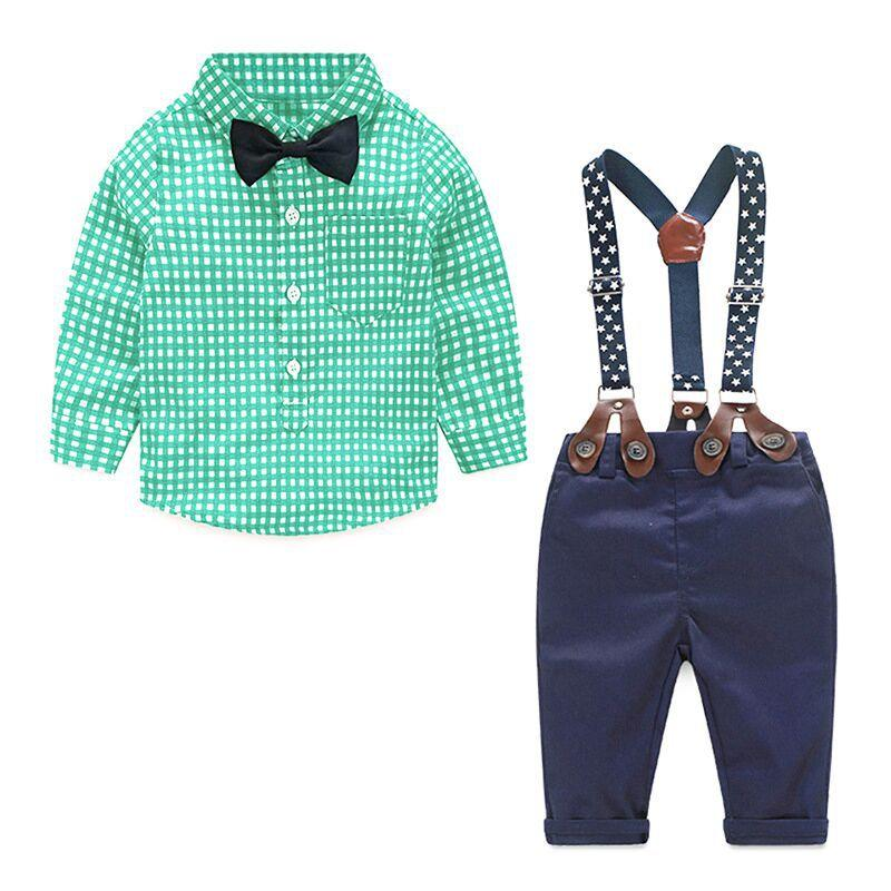 Gentleman Suit Plaid Shirt Bow Tie Suspend Trousers 2pcs Kid Designer Clothes Suits Autumn Spring Newborn Baby Sets Infant Clothing