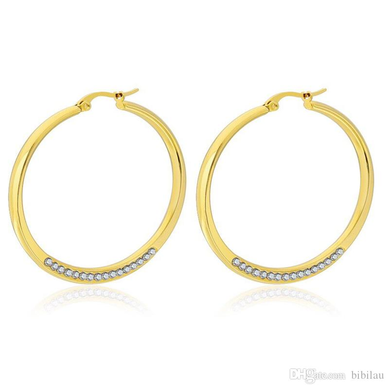 Wholesale (TE-0048) Titanium steel Crytals Circle Hoop Earrings (1pair) For Fashion Women Jewelry Hot 18 K / White Gold Color