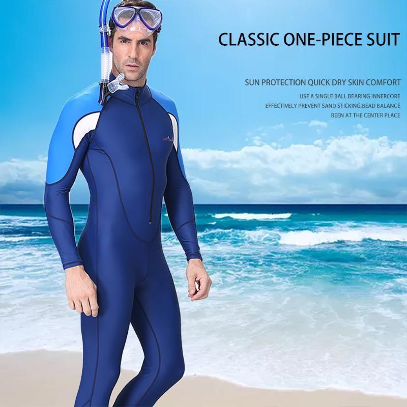 패션 잠수복 남자 다이빙 슈트 전체 다이브 피부 점프 슈트 남성 스노클링 서핑 스쿠버 다이빙 원피스 전신 수영복