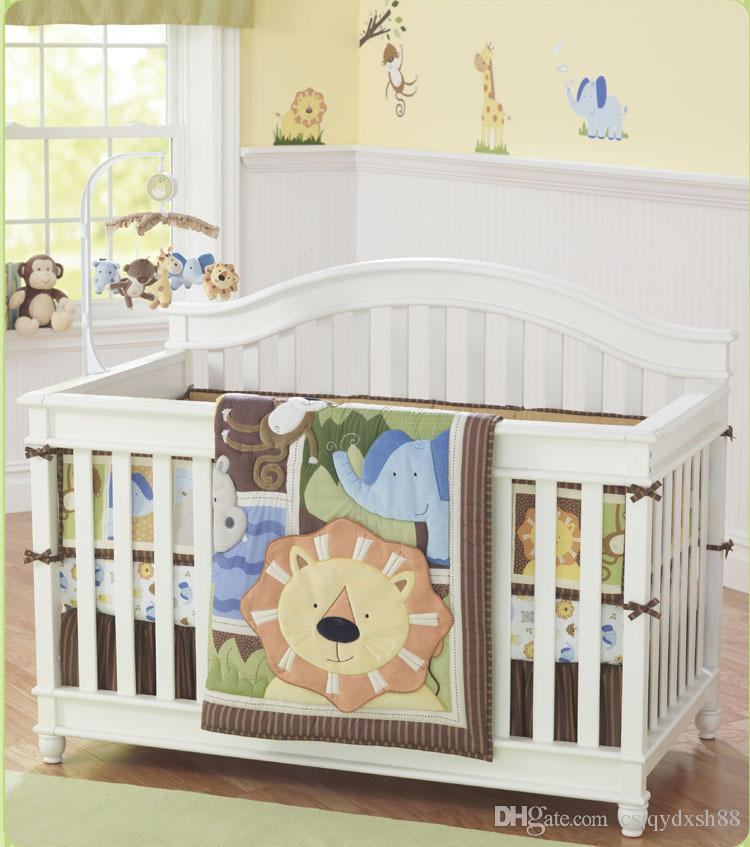 Promotion 7Pcs Crib Bumper set African lion Baby bedding set Cotton Crib padding set Embroidery 3D animal Crib Quilt Fitted Skirt Bumper