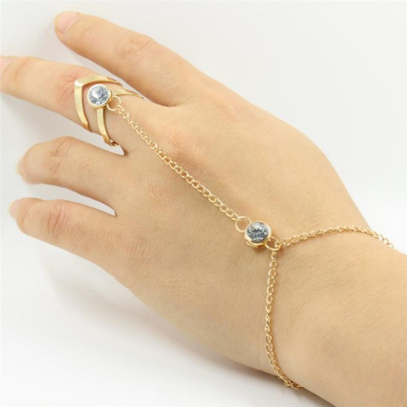 Gs 2018 New Arrival Mode Glitter Rhinestone Hand Bracelet Women Slave Chain Link Finger Ring Gold Charm Jewelry For Women R5 C19022301