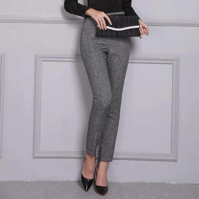 Compre El Trabajo De Oficina Pantalones Formales De Las Mujeres De Cintura Alta Cremallera Del Lado Del Lapiz De La Manera Pantalones Casuales Pantalones Femeninos Otono Del Resorte 2020 Mas El Tamano