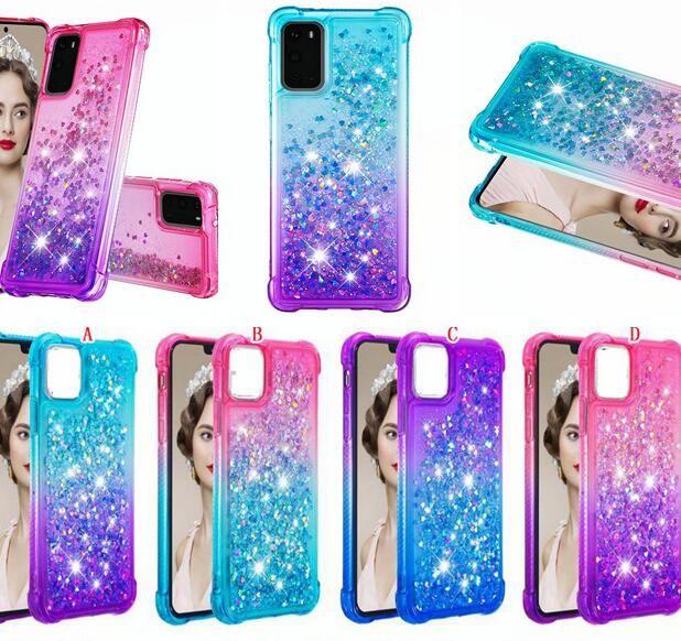 Für Samsung S21 Ultra 5G S20 Plus M31 A51 A71 A01 A21 A81 A91 Flüssigkeit weiche TPU-Tasche Stoßfest Quicksand Bling Herz-Telefon-Abdeckung Luxus