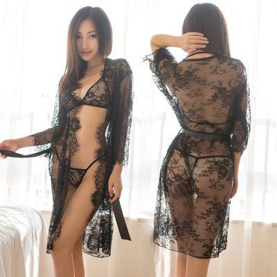 Femmes Sous-vêtements sexy Ensembles Sexy femmes ultra-mince perspective de dentelle Pyjama mode transparent costumes Sous-vêtements en dentelle gros