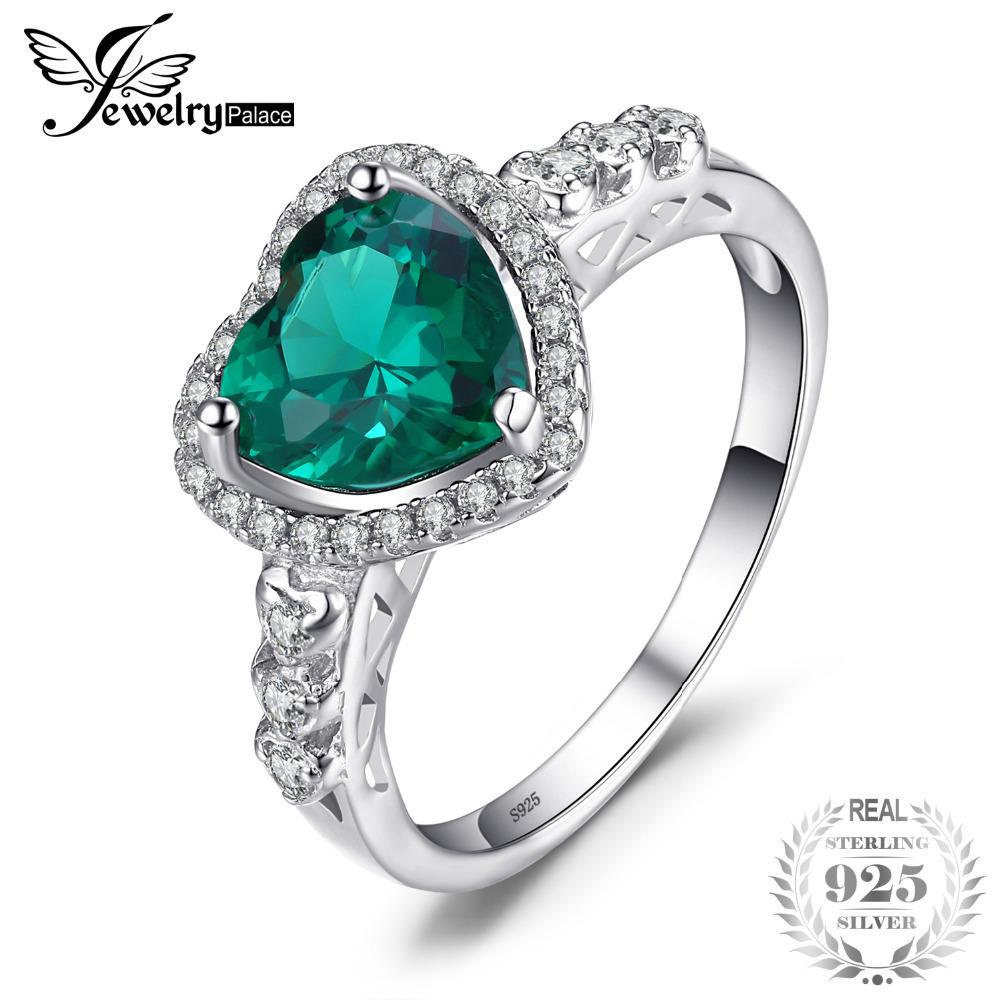 JewelryPalace Heart Of Ocean 1.8ct Created Emerald Love Forever Halo Promise Ring 925 Sterling Silver Ring Jewelry On Sale J190523