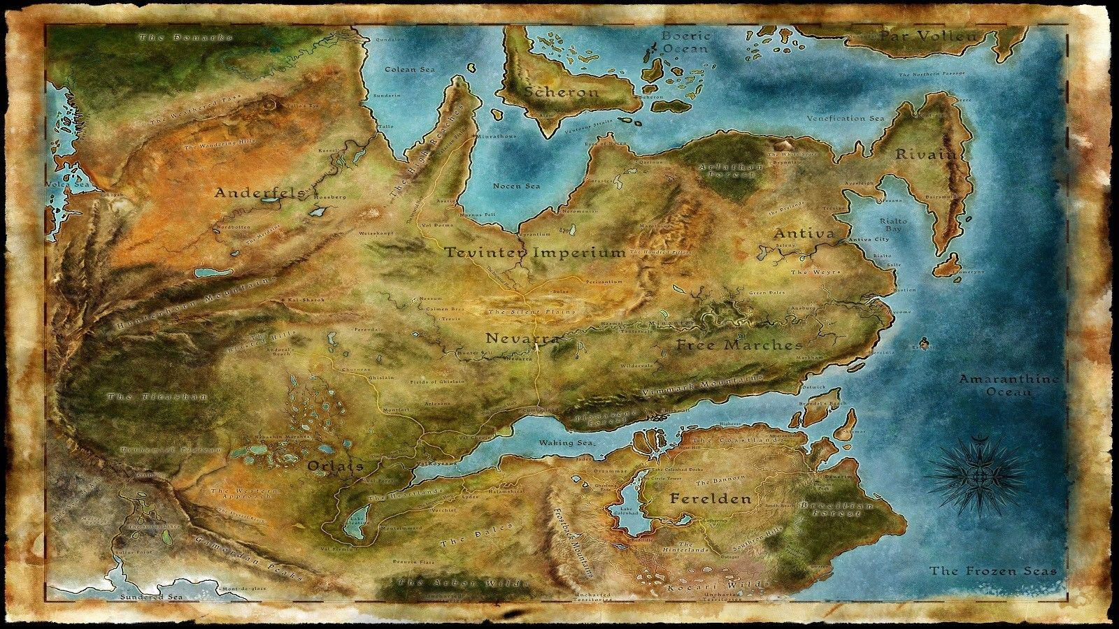 2019 Thedas Map Dragon Age Games Art Silk Print Poster 24x36inch60x90cm 018  From Chuy8988, $10.93 | DHgate.Com