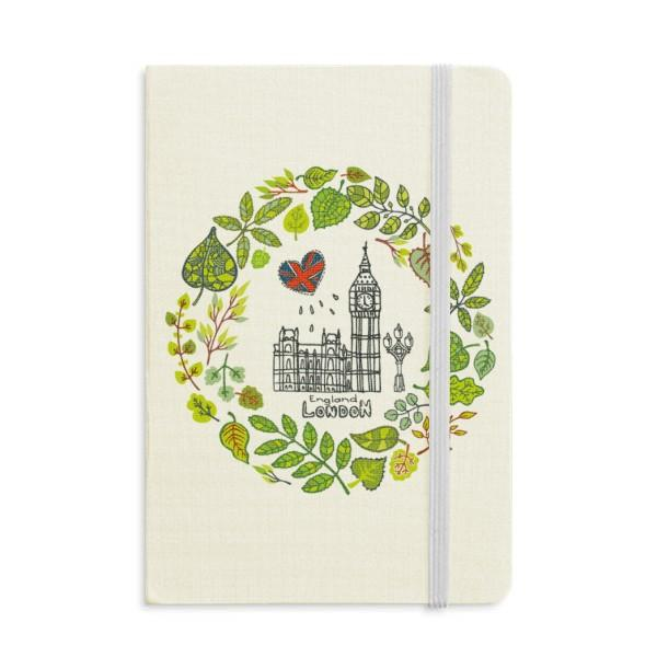 Big Ben London England Illustration Notebook Fabric Hard Cover Classic Journal Diary A5