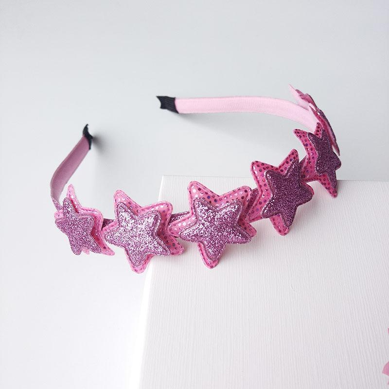 Shimmer Powder Pink Pointed Star Hair Hoop Boutique Baby Hairbands Princess Headwear Girls Hair Accessories Children Headbands