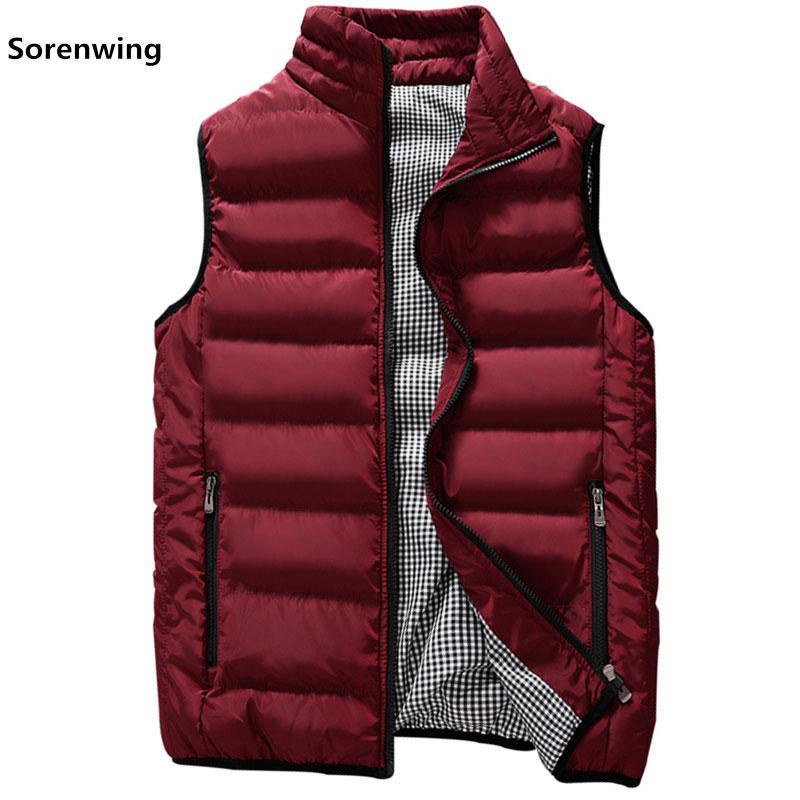 New Vests Men  Mens Sleeveless Jacket Cotton-Padded Men's Vest Autumn Winter Casual Coats Male Waistcoat 5XL 00000