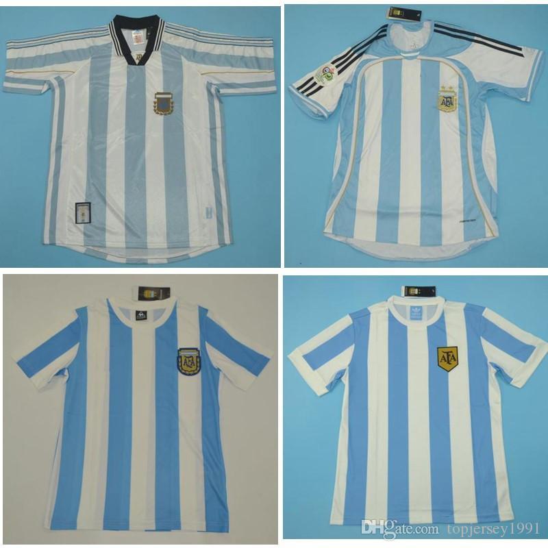 Top 1978 1986 1998 2006 Argentine Rétro Jerseys Vintage Classic Maradona Soccer Jersey Riquelme Chemise de football Messi Maillot de pied