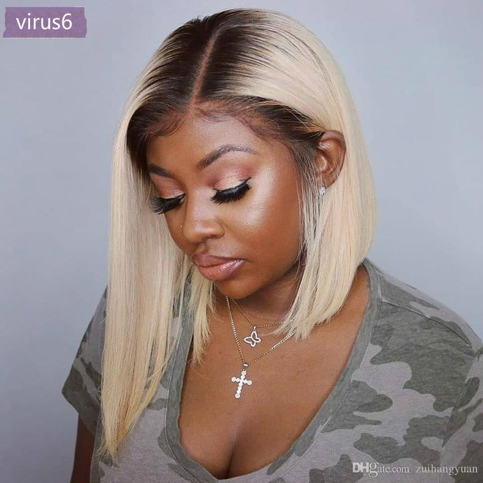 13x6 loira peruca dianteira do laço brasileiro 613 Curto Bob Lace cabelo Frente Humano Perucas para as mulheres negras peruca dianteira do laço