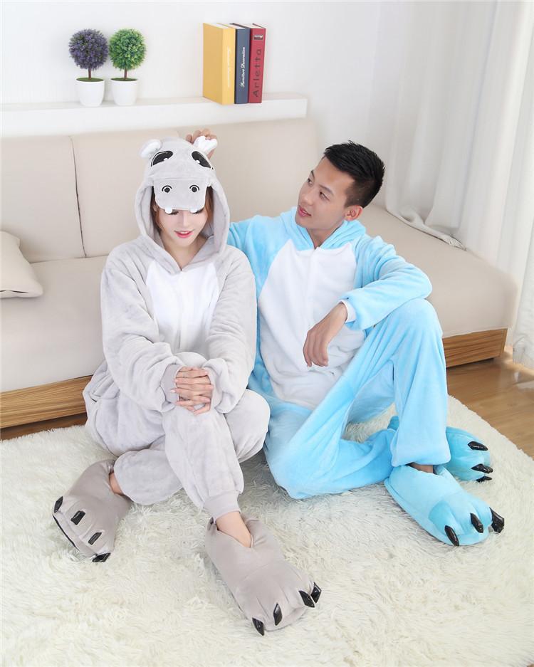 Cartoon animal conjoined Halloween Hippo Onesie Pajamas Jumpsuits Rompers Adult Animal Sleepsuit Pajamas Costume Cosplay
