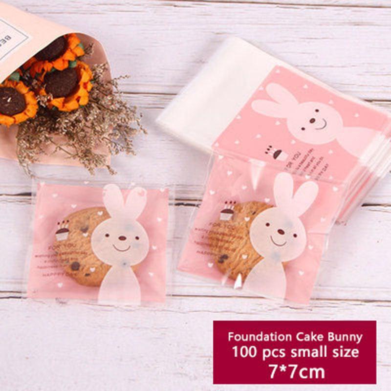 100pcs Galletas de jabón transparente de embalaje color de rosa auto-adhesivo de la bolsa de plástico Galletas cumpleaños de la boda del color del partido del tema de la decoración