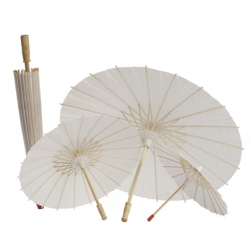 Bambou Blanc Papier Parapluie Artisanat Chinois Parapluie Peinture Danse Blanc Parapluies En Papier De Noce De Mariage Décoration DBC VT0420