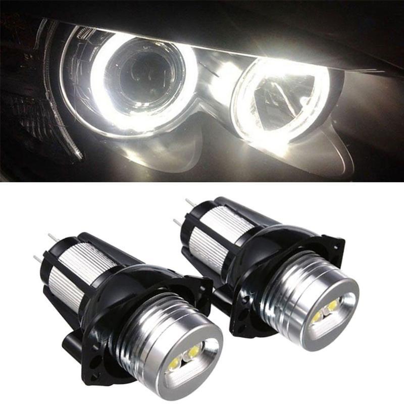 2 PCS E90 عيون الملاك هالة حلقة الصمام الخفيفة 6W ماركر لمبة زينون الأبيض لتعليم قيادة السيارات مصباح للماء لفي canbus مصباح زينون #Ger