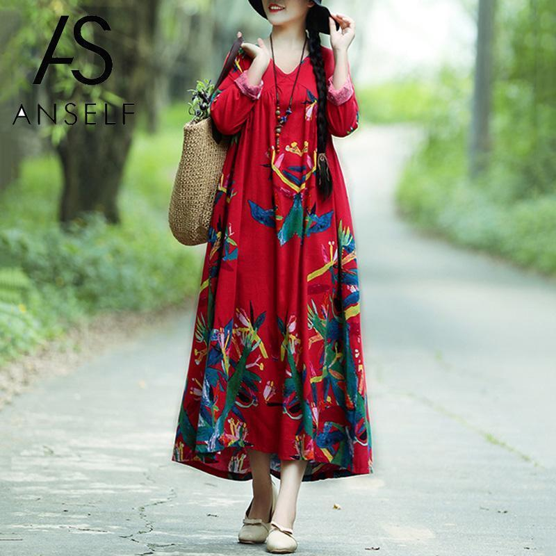 Ethnic Boho Dress Women Vintage Cotton Linen Dress Contrast Print Long Sleeves Robe Female 2019 Spring Maxi Long Dress Oversized Q190409